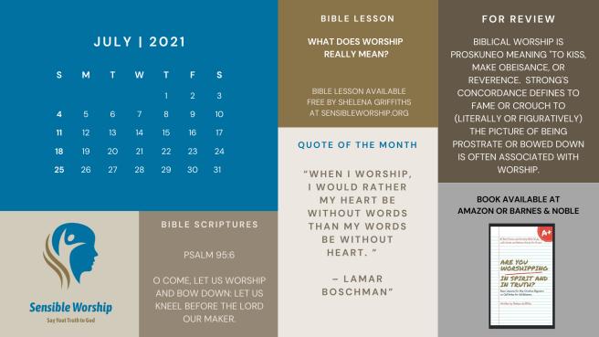July Praise and Worship Calendar